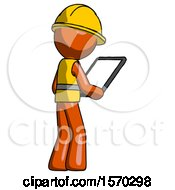 Orange Construction Worker Contractor Man Looking At Tablet Device Computer Facing Away