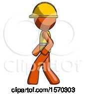 Orange Construction Worker Contractor Man Walking Left Side View