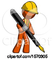 Orange Construction Worker Contractor Man Drawing Or Writing With Large Calligraphy Pen