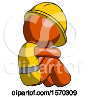 Orange Construction Worker Contractor Man Sitting With Head Down Back View Facing Right