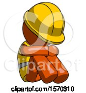 Orange Construction Worker Contractor Man Sitting With Head Down Facing Angle Right