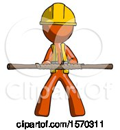 Orange Construction Worker Contractor Man Bo Staff Kung Fu Defense Pose