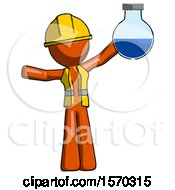 Orange Construction Worker Contractor Man Holding Large Round Flask Or Beaker