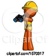 Orange Construction Worker Contractor Man Holding Binoculars Ready To Look Left