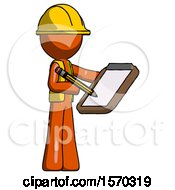 Orange Construction Worker Contractor Man Using Clipboard And Pencil