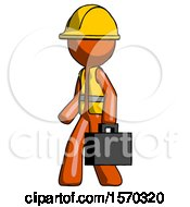 Orange Construction Worker Contractor Man Walking With Briefcase To The Left