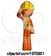 Orange Construction Worker Contractor Man Soldier Salute Pose