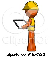 Orange Construction Worker Contractor Man Looking At Tablet Device Computer With Back To Viewer