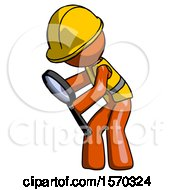 Orange Construction Worker Contractor Man Inspecting With Large Magnifying Glass Left