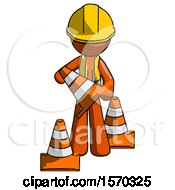 Orange Construction Worker Contractor Man Holding A Traffic Cone