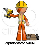 Orange Construction Worker Contractor Man Holding Drill Ready To Work Toolchest And Tools To Right