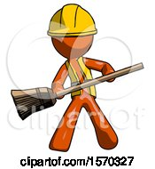Orange Construction Worker Contractor Man Broom Fighter Defense Pose