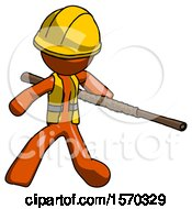 Orange Construction Worker Contractor Man Bo Staff Action Hero Kung Fu Pose