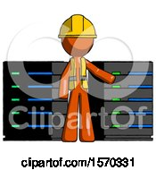 Orange Construction Worker Contractor Man With Server Racks In Front Of Two Networked Systems