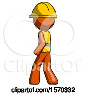 Orange Construction Worker Contractor Man Walking Away Direction Left View