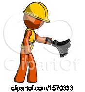 Orange Construction Worker Contractor Man Dusting With Feather Duster Downwards