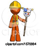 Orange Construction Worker Contractor Man Holding Jester Staff