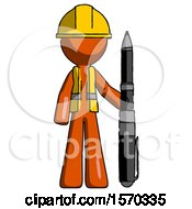 Orange Construction Worker Contractor Man Holding Large Pen