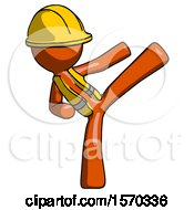 Orange Construction Worker Contractor Man Ninja Kick Right