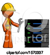 Orange Construction Worker Contractor Man Server Administrator Doing Repairs