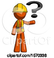 Orange Construction Worker Contractor Man Holding Question Mark To Right