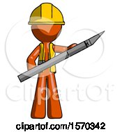Orange Construction Worker Contractor Man Holding Large Scalpel