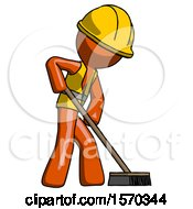Orange Construction Worker Contractor Man Cleaning Services Janitor Sweeping Side View