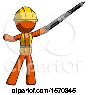 Orange Construction Worker Contractor Man Demonstrating That Indeed The Pen Is Mightier