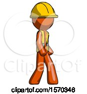 Orange Construction Worker Contractor Man Walking Turned Right Front View