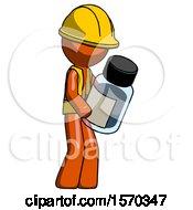 Orange Construction Worker Contractor Man Holding Glass Medicine Bottle