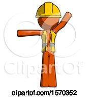 Orange Construction Worker Contractor Man Directing Traffic Left
