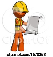 Orange Construction Worker Contractor Man Holding Blueprints Or Scroll