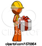 Orange Construction Worker Contractor Man Giving A Present