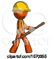 Orange Construction Worker Contractor Man Holding Bo Staff In Sideways Defense Pose