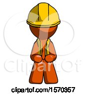 Orange Construction Worker Contractor Man Squatting Facing Front