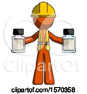 Orange Construction Worker Contractor Man Holding Two Medicine Bottles