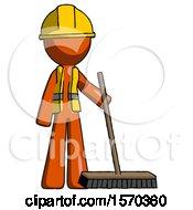 Orange Construction Worker Contractor Man Standing With Industrial Broom