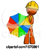 Orange Construction Worker Contractor Man Holding Rainbow Umbrella Out To Viewer