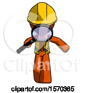 Orange Construction Worker Contractor Man Looking Down Through Magnifying Glass