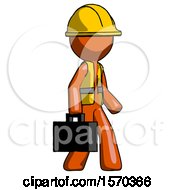 Orange Construction Worker Contractor Man Walking With Briefcase To The Right