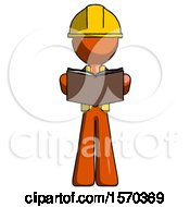 Orange Construction Worker Contractor Man Reading Book While Standing Up Facing Viewer