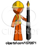Orange Construction Worker Contractor Man Holding Giant Calligraphy Pen
