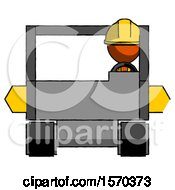 Orange Construction Worker Contractor Man Driving Amphibious Tracked Vehicle Front View