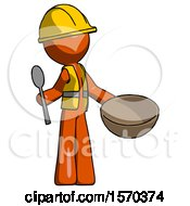 Orange Construction Worker Contractor Man With Empty Bowl And Spoon Ready To Make Something
