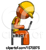 Orange Construction Worker Contractor Man Using Laptop Computer While Sitting In Chair View From Side