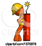 Orange Construction Worker Contractor Man Leaning Against Dynimate Large Stick Ready To Blow