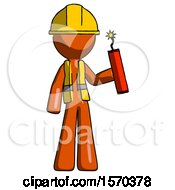 Orange Construction Worker Contractor Man Holding Dynamite With Fuse Lit