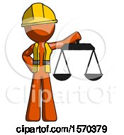 Orange Construction Worker Contractor Man Holding Scales Of Justice