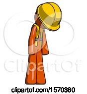 Orange Construction Worker Contractor Man Depressed With Head Down Turned Right