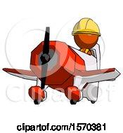 Orange Construction Worker Contractor Man Flying In Geebee Stunt Plane Viewed From Below